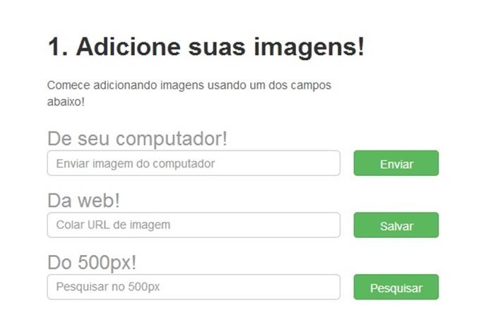 Campos para escolha do tipo de upload de imagem (Foto: Reprodução/Raquel Freire)