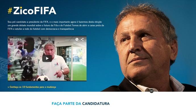 Zico lança site com candidatura à Fifa (Foto: Reprodução)