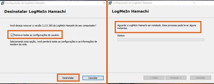 Confirme a desinstalação do Hamachi do computador e aguarde o fim do procedimento (Foto: Reprodução/Barbara Mannara)