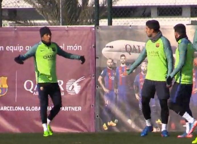 Neymar Suárez treino Barcelona