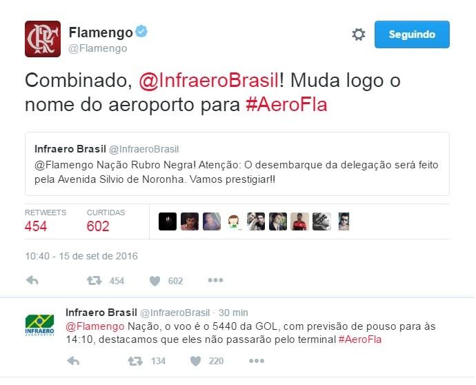 Conversa entre perfis de Infraero e Flamengo em rede social (Foto: Reprodução/Twitter)