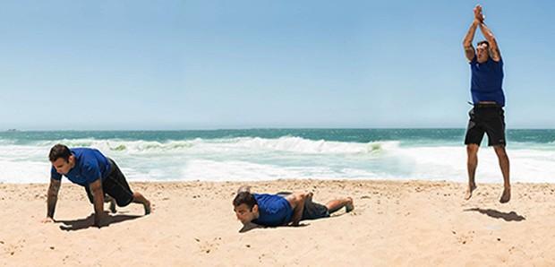 Chico Salgado | Burpee, Comece em pé e passe rapidamente para a posição inicial de uma flexão de braços, jogando os pés ao mesmo tempo para trás. Realize a flexão, retorne também em velocidade para a vertical e finalize com um salto (Foto: Franco Amendola)