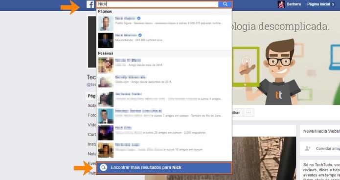 Veja mais resultados para a pessoa buscada no Facebook (Foto: Reprodução/Barbara Mannara)