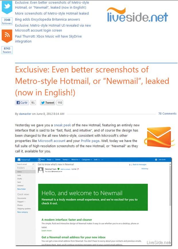 'Newmail' seria o novo nome do serviço Hotmail, se acordo com imagens publicadas pelo site 'Liveside.net' (Foto: Reprodução)