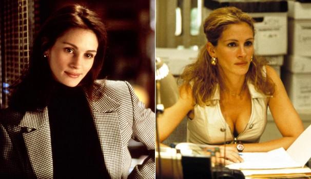 A atriz em 'Adoro Problemas' (1994) e em 'Erin Brockovich: Uma Mulher de Talento' (2000) (Foto: Divulgação/Reprodução)