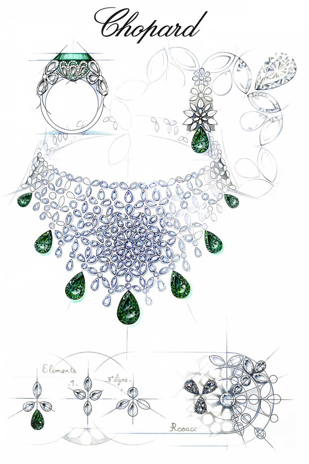 "The sketch for Chopard's emerald and diamond necklace, ring, and earrings from the ""Precious Chopard"" collection, which is inspired by lacework (Foto: CHOPARD)"