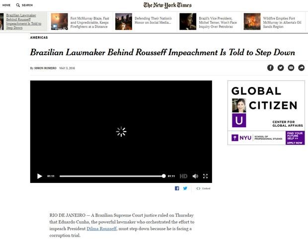 Afastamento de Eduardo Cunha foi assunto no 'The New York Times' (Foto: Reprodução/The New York Times)