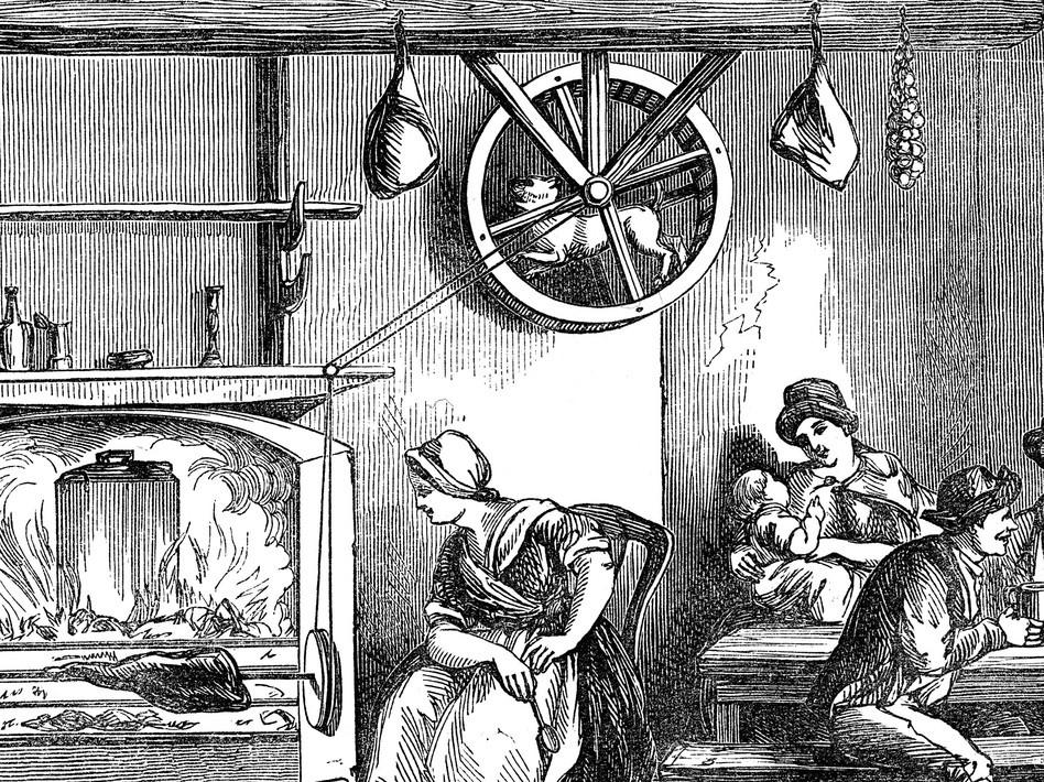 Ilustração de um pobre turnspit em ação (Foto: wikimedia commons)