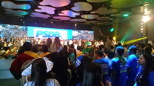 Centenas de militantes do PSDB lotaram convenção nacional do PSDB, em Brasília (Foto: Laís Alegretti / G1)