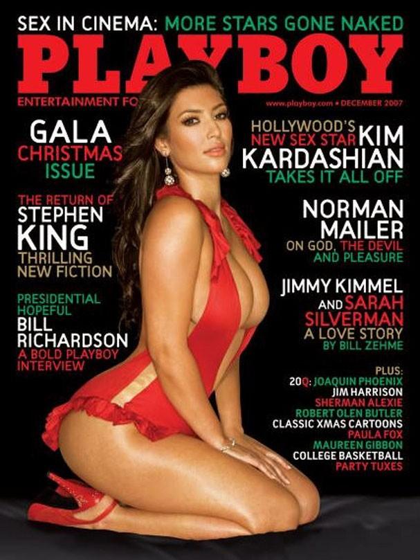 Kim Kardashian como capa da Playboy dos Estados Unidos em dezembro de 2007 (Foto: Reprodução)
