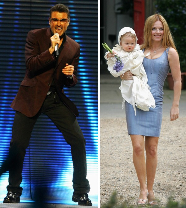 O cantor George Michael e a ex-Spice Girl Geri Halliwell com a filha (Foto: Getty Images)
