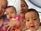 Mãe de Luana Piovani posa ao lado dos netos Bem e Liz, filhos da atriz