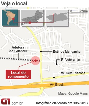 Mapa rompimento adutora em Campo Grande  (Foto: G1)
