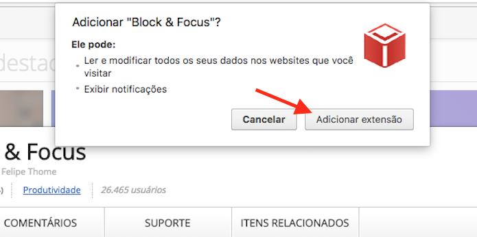 Opção para instalar a extensão Block & Save para o Google Chrome (Foto: Reprodução/Marvin Costa)