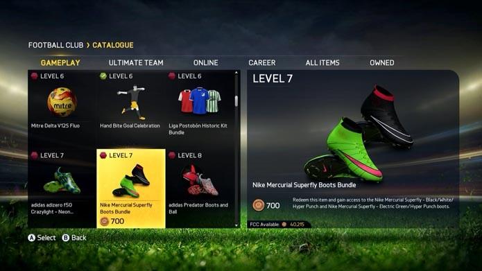 Confira uniformes e chuteiras na aba gameplay(Foto: Reprodução/Murilo Molina)