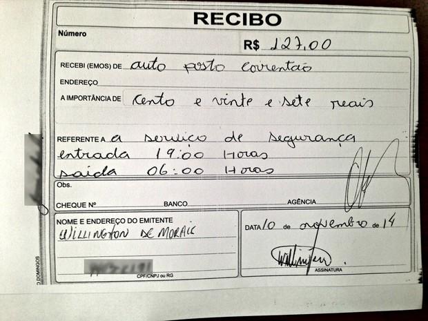 2 Recibo de pagamento por 'serviços de segurança' mostra assinatura de sargento da Polícia Militar do Acre (Foto: G1)