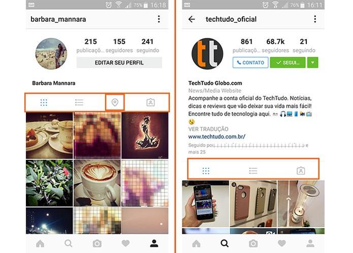 Botão com Mapa de Fotos foi removido em perfis do Instagram (Foto: Reprodução/Barbara Mannara)