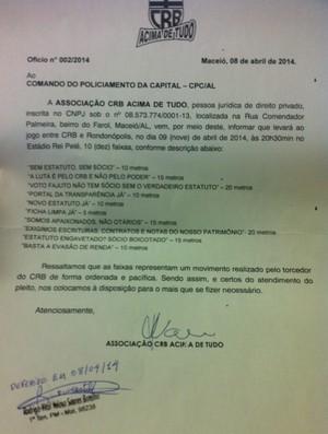 Ofício da Associação CRB Acima de Tudo é deferido pela polícia militar (Foto: Divulgação / CRB Acima de Tudo)