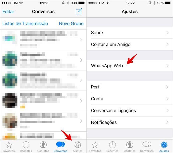 Acesse as configurações do WhatsApp Web (Foto: Reprodução/Helito Bijora)