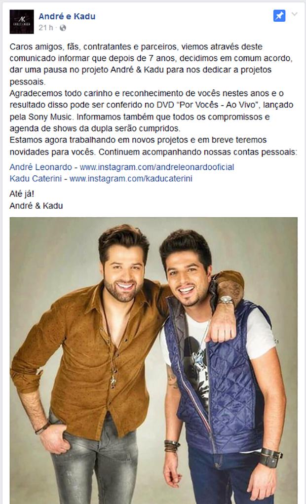 André e Kadu (Foto: Reprodução/Facebook)