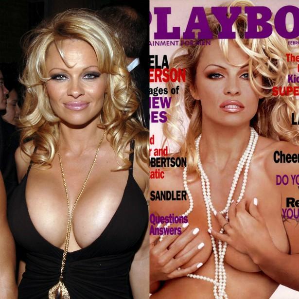 Pamela Anderson pôs silicone nos seios para posar para a 'Playboy' dos EUA em 1989. Uma década depois, quando fez outro ensaio para a revista, ela teria retirado as próteses. (Foto: Getty Images e Reprodução)