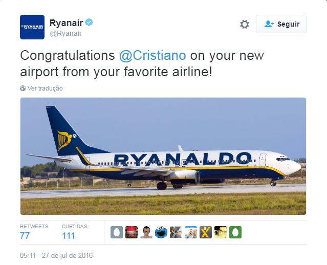 BLOG: Companhia aérea homenageia Cristiano Ronaldo com nome em avião