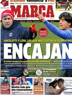 Capa do Marca com Ancelotti e Low no Real Madrid (Foto: Reprodução)