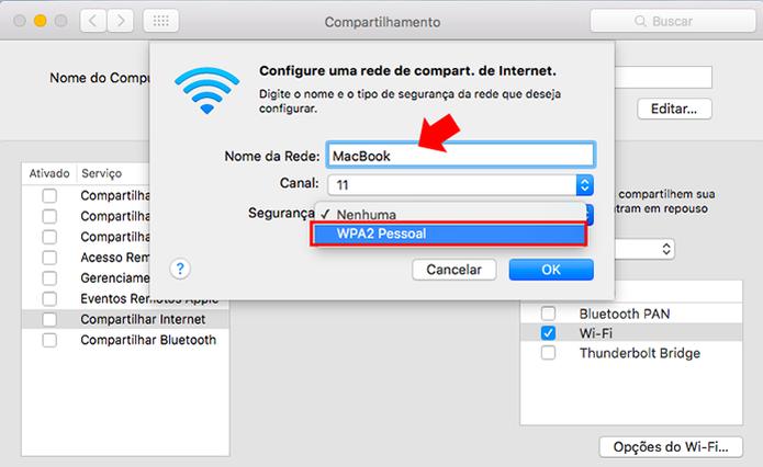 Defina um nome para a rede e ative a segurança (Foto: Reprodução/Paulo Alves)