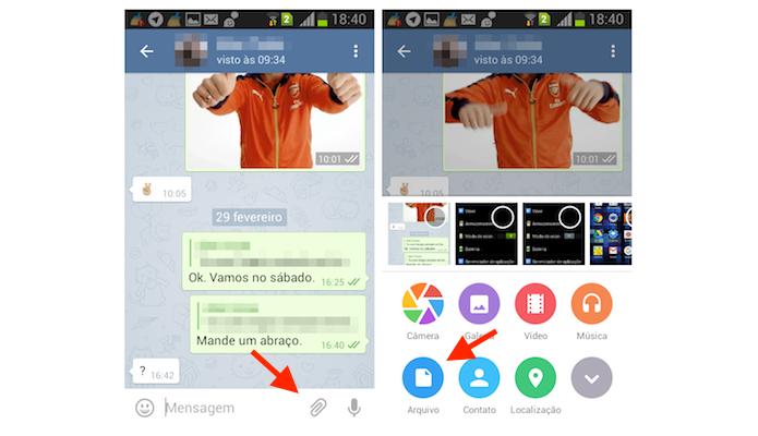 Acessando a ferramenta para envio de arquivos no Telegram para Android (Foto: Reprodução/Marvin Costa)