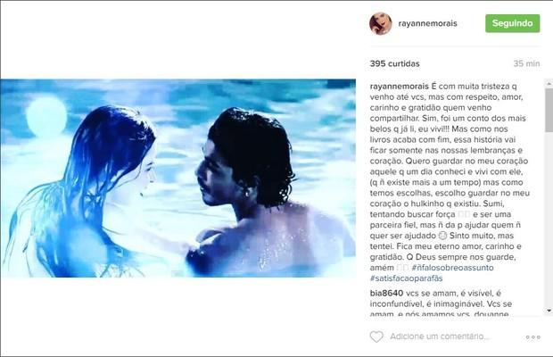 Rayanne Morais faz post no Instagram anunciando a separação de Douglas Sampaio (Foto: Reprodução/Instagram)