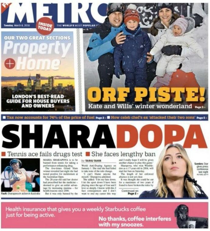Capa jornal Metro doping Maria Sharapova (Foto: Reprodução)