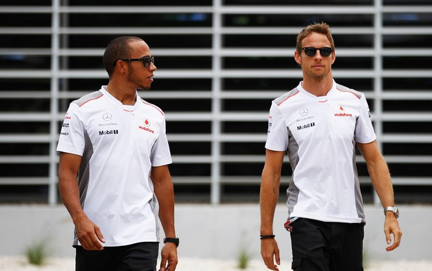 Hamilton e Button no Bahrein (Foto: Getty Images)