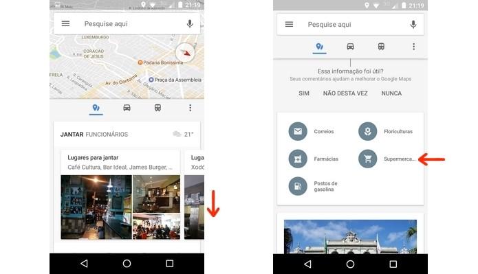 Card do Google Maps com categorias de lugares úteis (Foto: Reprodução/Raquel Freire)
