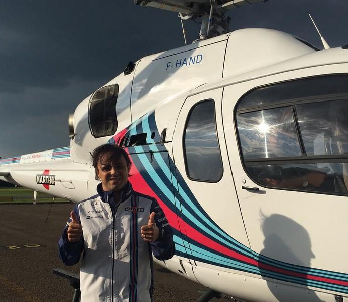 Felipe Massa chegou à Bélgica em helicóptero de patrocinadora da Williams (Foto: Divulgação)