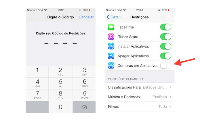 Desativando as compras dentro de aplicativos no iOS (Foto: Reprodução/Marvin Costa)