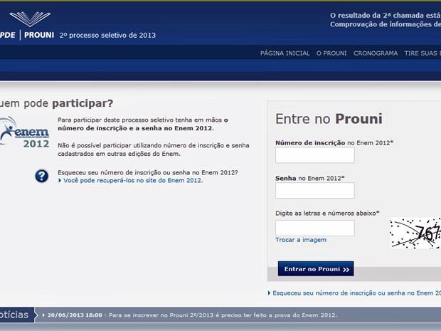 Segunda chamada do Prouni está no ar  (Foto: Reprodução/ TV Globo)