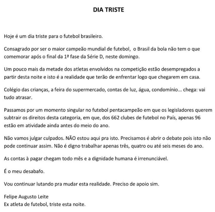BLOG: Presidente da Fenapaf lamenta desemprego de atletas após fim da primeira fase da Série D