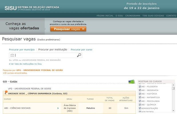 Reprodução do site do Sisu (Foto: Reprodução/ Sisu)