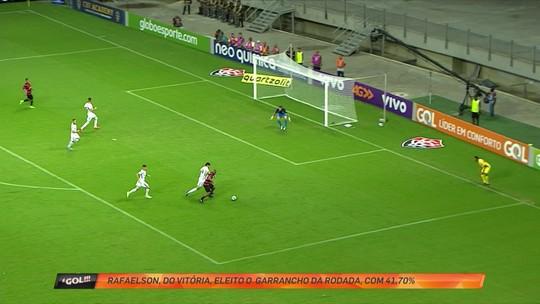 """Rafaelson, do Vitória, fura na hora do chute e leva enquete de """"garrancho"""""""