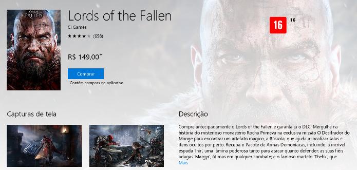 Página de Lords of the Fallen na Xbox Marketplace (Foto: Reprodução/André Mello)