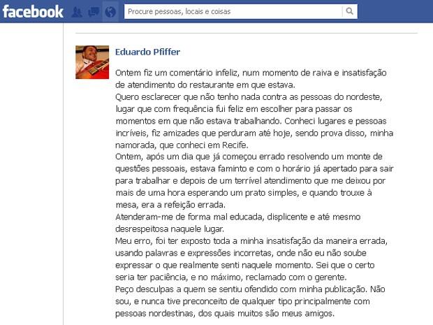 Piloto usou rede social para se desculpar após comentário contra nordestinos feito em João Pessoa (Foto: Reprodução/Facebook)