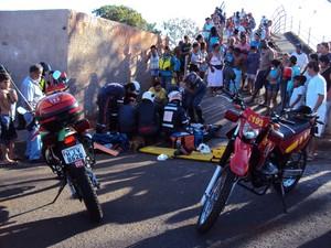 Criança teve parte do pé amputado em Uberaba (Foto: Corpo de Bombeiros/ Divulgação)