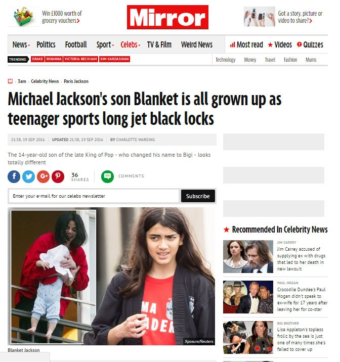 Blanket Jackson (Foto: Reprodução/Mirror)