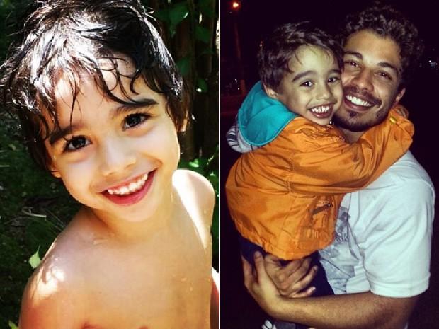 Douglas Sampaio é só chamego com o filho Bernardo, de 4 anos (Foto: Arquivo Pessoal)