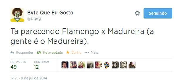 A camisa da Alemanha em alusão à do Flamengo também foi citada nas piadas no Twitter (Foto: Reprodução/Twitter/bqeg)