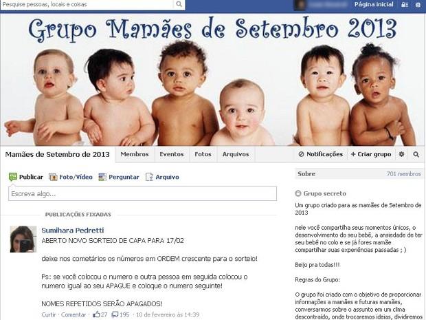 Mulheres usam a internet para trocar experiências da maternidade (Foto: Reprodução/ Facebook)