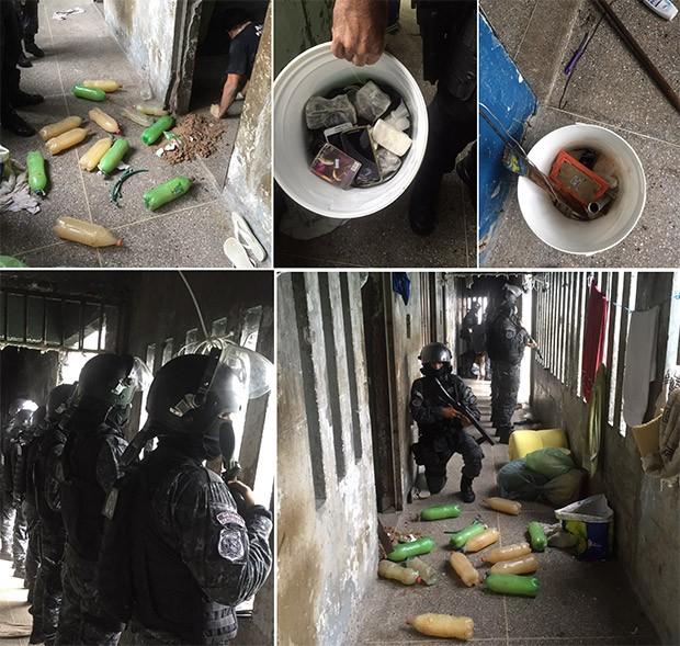 Agentes do GOE mostram material encontrado durante a revista realizada no PEP (Foto: G1/RN)