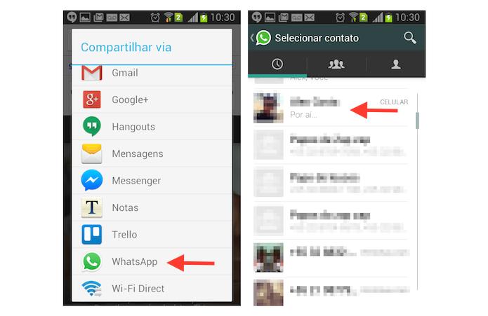 Definindo um contato do WhatsApp para compartilhar uma página aberta no Chrome do Android (Foto: Reprodução/Marvin Costa)