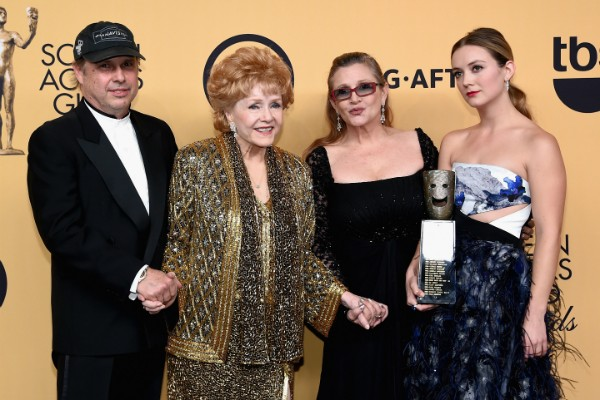Todd Fisher, Debbie Reynolds, Carrie Fisher e Billie Lourd (Foto: Getty Images)