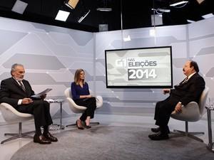 O candidato à Presidência Levy Fidelix é entrevistado no estúdio do G1 (Foto: Caio Kenji/G1)